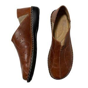 Josef Seibel Leather Slip-On Loafers in Cognac